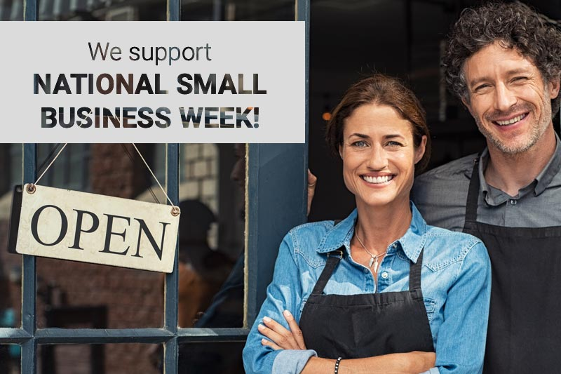 Small business owners and National Small Business Week banner