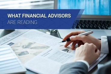 What Financial Advisors Are Reading headline next to businessman reading newspaper