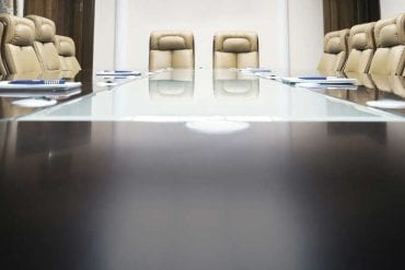 board room with leather chairs