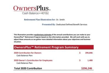 OwnersPlus Retirement plan illustration example