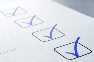 Checklist with blue checkmarks