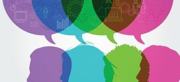 Illustration of colorful word bubbles over the heads of people