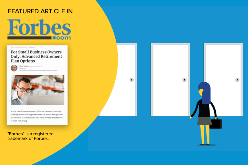 Illustration fo woman looking at doors and Forbes.com article