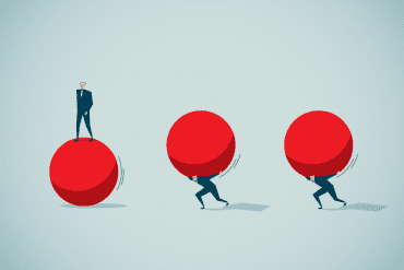 Illustration of man lifting heavy red balls