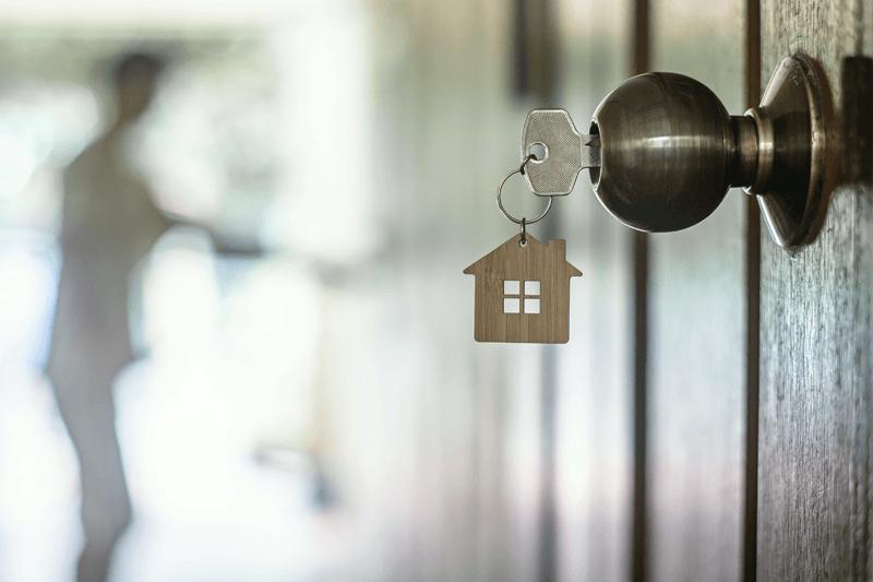 Key in door knob