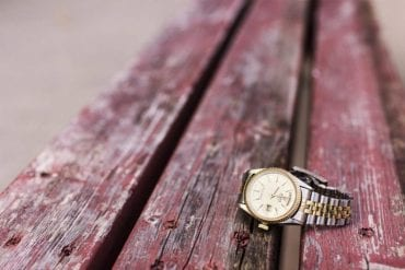 Expensive watch on picnic table