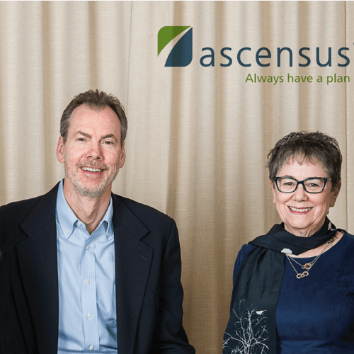2 businesspeople under Ascensus logo
