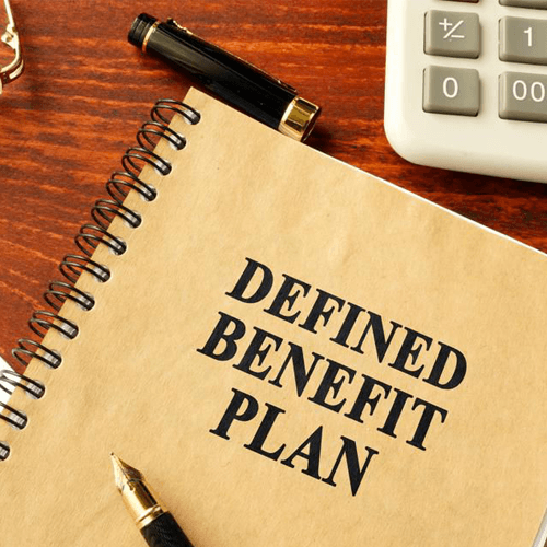 Defined Benefit Plan notebook with calculator