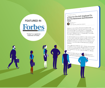 Illustration of people looking at news Forbes